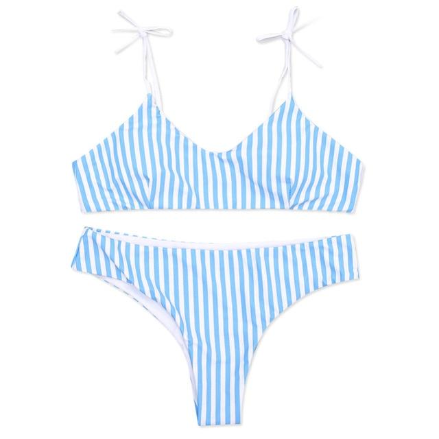 Blue Stripe Bikini Split Sexy Cute Women Girls Swimwear Beach Holiday Swimwear Bikinis Set Women Swimsuit Bathing Suit Biquini