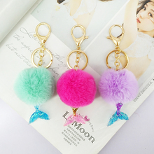 цена Mermaid Pokemon Keychain Fur Pompom 5cm Ball Key Chains Decorative Pendant Women Bag Car Key Ornaments Fashion Jewelry Mom Gifts онлайн в 2017 году