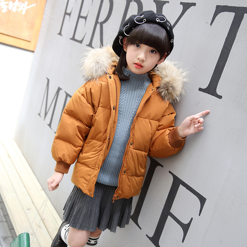 down clothes girl Korean children's Korean version of the short section of the thickened child warm coat one generation 2017 korean version of the thickening of female workers in the long coat lambskin coat winter coat large size coat