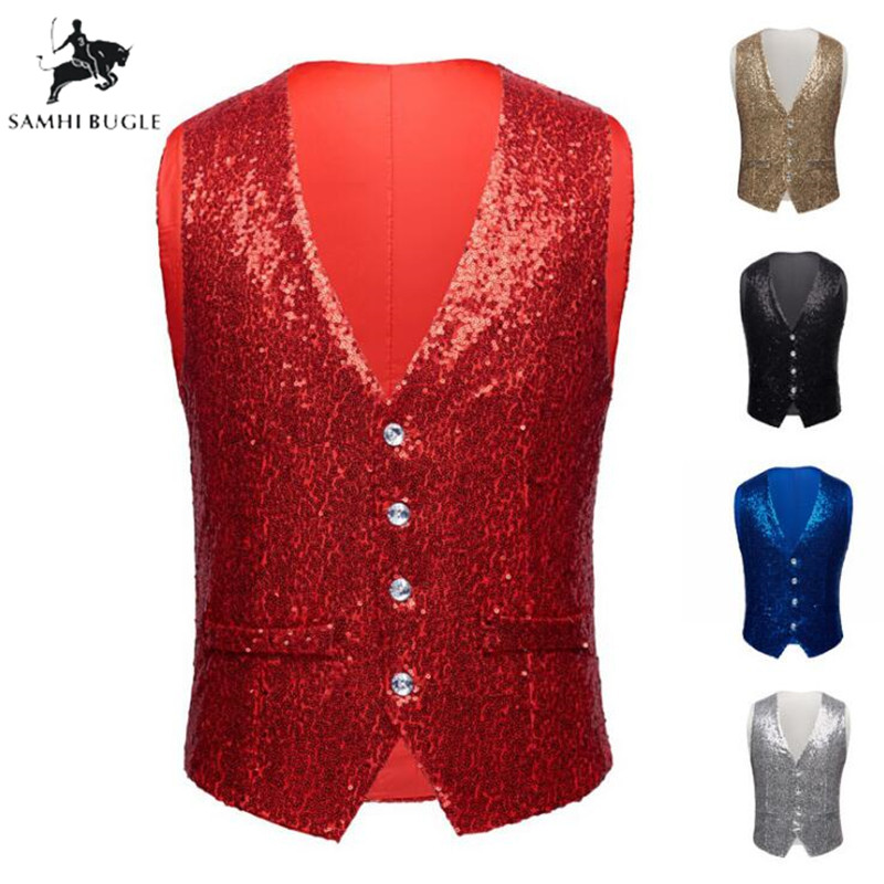 Men Paillette Waistcoat Luxurious Gold Silver Red Blue Full Sequins Wedding Groom Vest Gilet Homme DJ Bar Singers Costume
