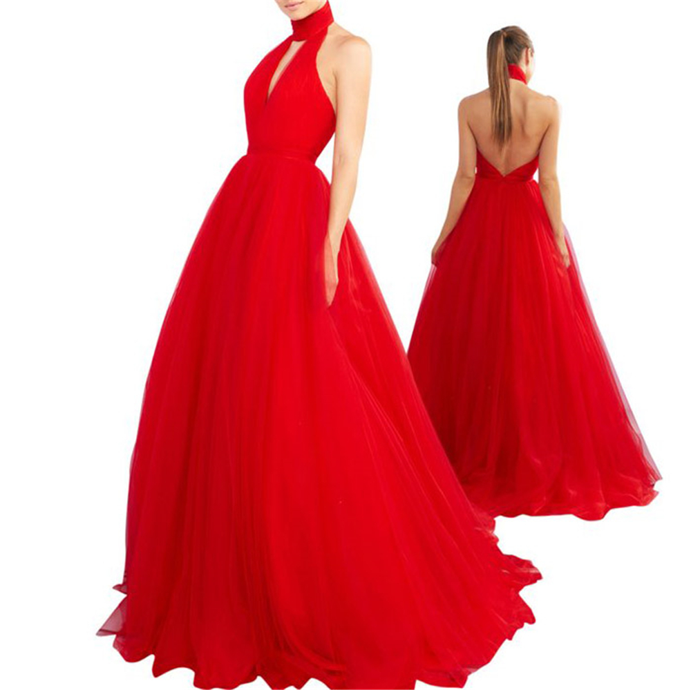 New Arrival! Halter Backless Tulle Ball Gown Tulle Sleeveless Backless Zipper Prom Dresses Vestidos De 2019 Quinceanera Dresses