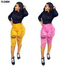 Streetwear Denim Pants Women Casual Joggers Holes Candy Jeans High Waist Skinny