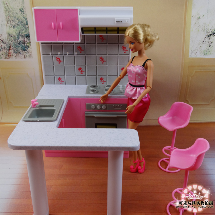 Newest For Barbie Furniture Miniature Combo Kitchen Play Set Doll Dream House Diy Toy