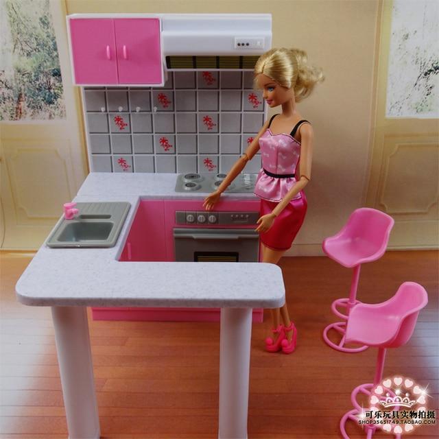 nieuwste voor barbie meubels miniatuur combo keuken play set doll dream house diy speelgoed in. Black Bedroom Furniture Sets. Home Design Ideas