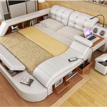 Manbas Real Genuine Leather Frame Modern Soft Beds Home