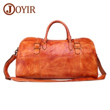 JOYIR New Design Unisex Travel Bag Genuine Leather Vintage Men Bags Large Capacity Cow Luggage Weekend
