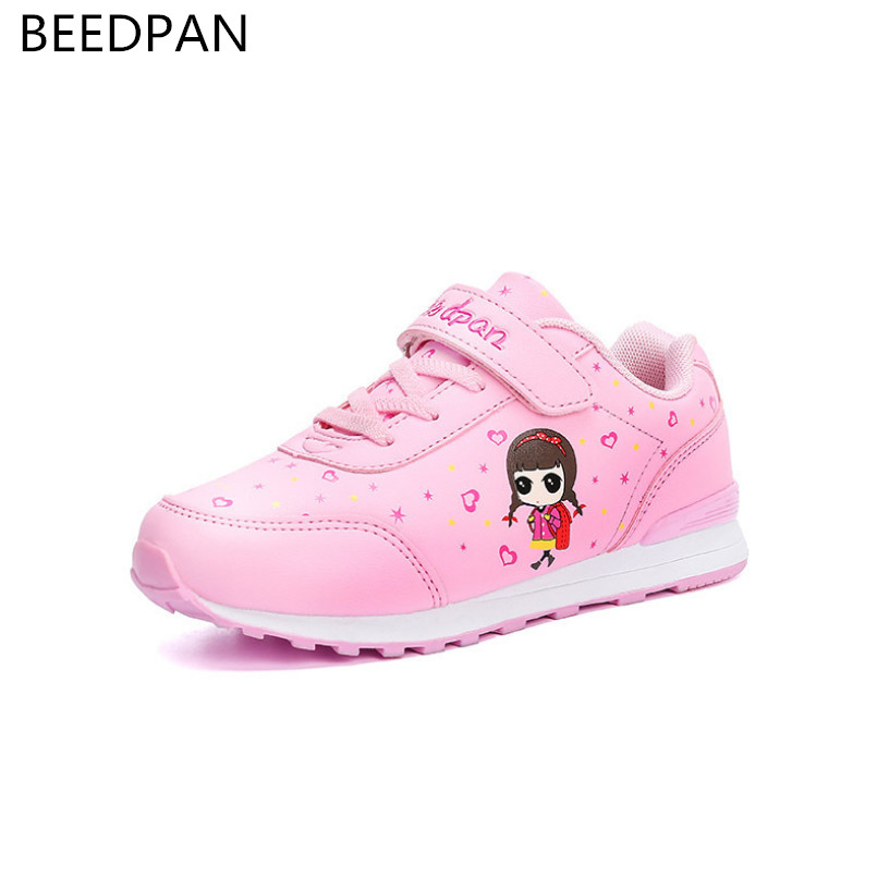 Beedpan Brand Spring Autumn Children Shoes Girls Sneakers Kids Shoes For Girl Leather Fashion Toddler Girls Shoes And Sneakers 2017 babyfeet spring and autumn children sneakers baby girls child toddler shoes breathable fashion pu leather boys sports shoes