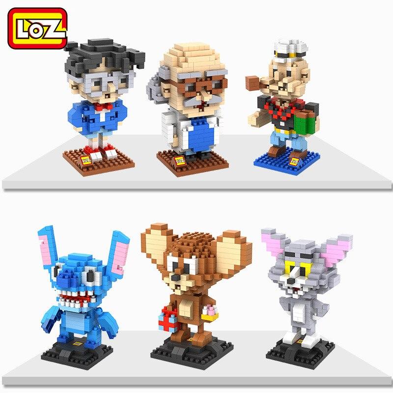 LOZ Anime blokk Klasszikus játék detektív tégla Popeye Tom Jerry Micro építőelemek Összeszerelési adatok Stitch Kid Baby Toys 9441