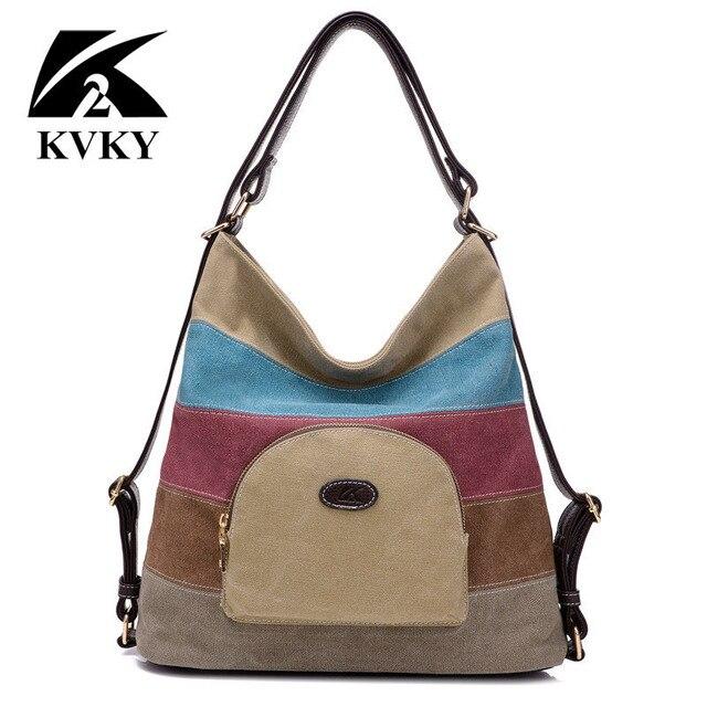b19d9875e353 KVKY Multifunctional women canvas bags handbags messenger bags ladies bags  new fashion women panelled back pack bolsas femininas