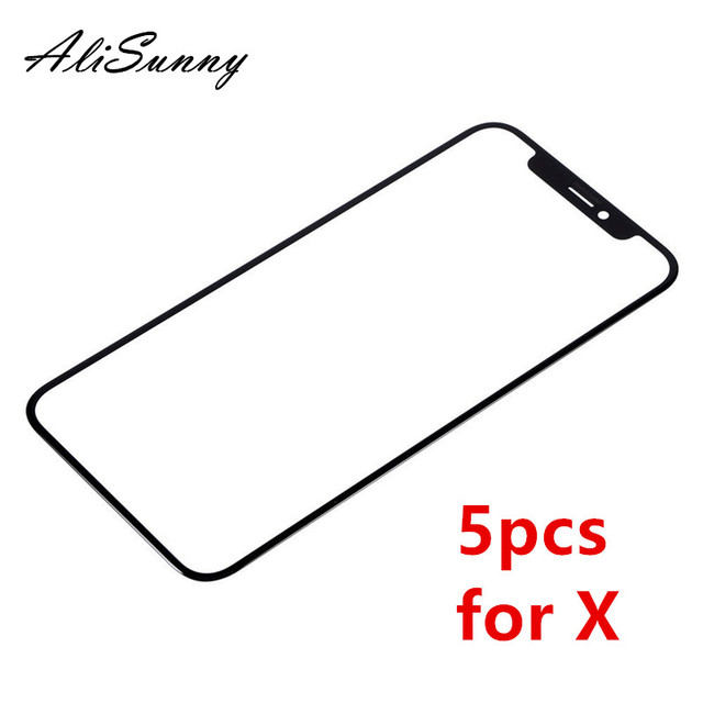AliSunny 5 יחידות X iPhoneX שפתוחה Outter זכוכית מסך מגע LCD עבור iPhone חלקי חילוף עדשת פנל