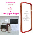 """Natural Wood + Aluminum Kirsite Bumper Metal Case +Luxury Package for IPhone 5 5s 6 6S 4.7"""" / 6 6S Plus 5.5"""" Frame Phone Cover"""