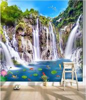 Custom photo mural 3d wallpaper Mountain waterfalls carp decoration painting 3d wall murals wallpaper for living room walls 3 d