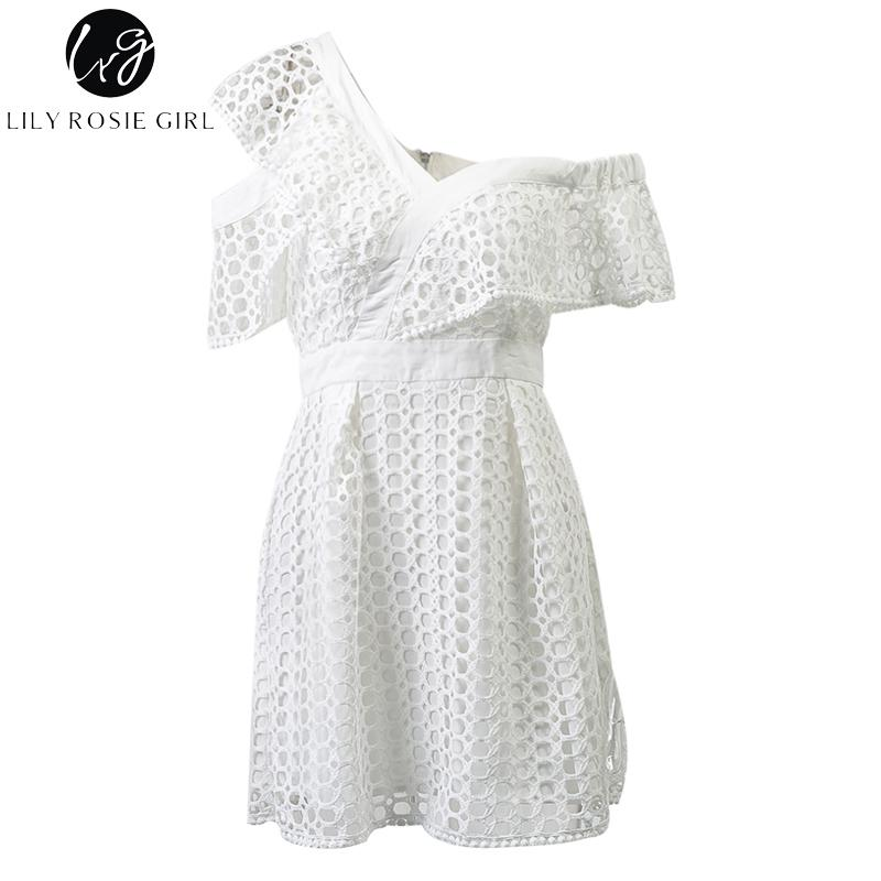 83a693599bd2 Dropwow Lily Rosie Girl Sexy Ruffle Short Sleeve Dress Women White ...