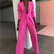 Ohvera лук женский костюм женские костюмы офисные наборы Повседневный блейзер и брюки формальный комплект из двух частей Terno Feminino