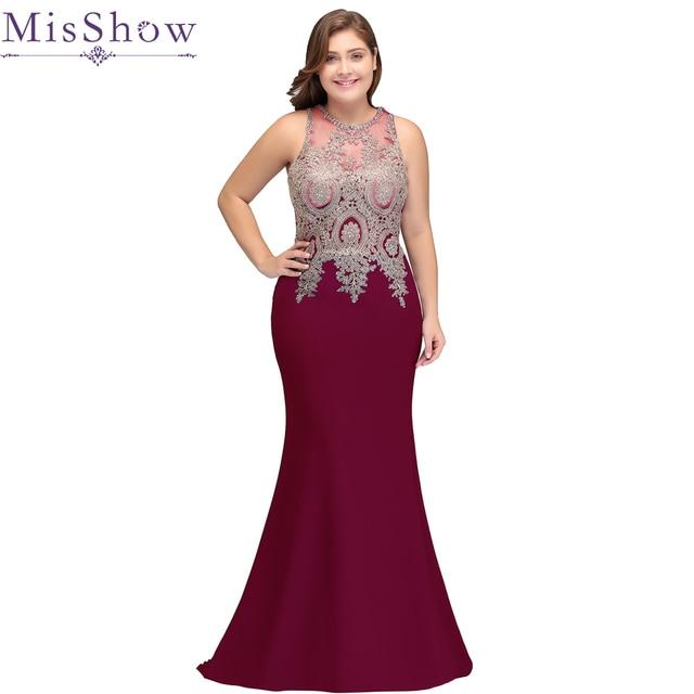 New Purple burgundy Elegant mermaid evening dress Plus size beaded ...