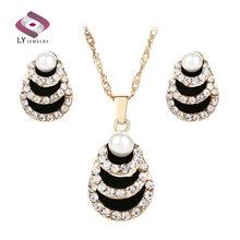 Luxury Indian Jewelry 2pcs Sets Black Enamel Pearl Necklaces And Earrings Gold Color Inlaid Artificial Zircons Engagement Gift(China)