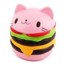 Cute Kawaii Soft Squishy Jumbo Cartoon Cat Hamburger Scented Slow Rising Exquisite Kid Decompression Fun Toys Relax