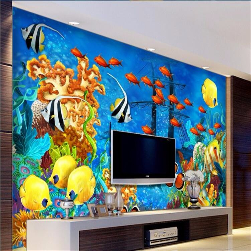Beibehang custom mural modern ocean world tropical fish for Chinese movie mural