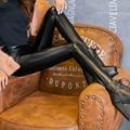S-XXXL 2016 PU Pantalones de Cuero Mujeres Del Invierno Del Otoño mujer de cintura alta elástica de cuero PU de lana elásticos Delgados de las mujeres pantalones lápiz