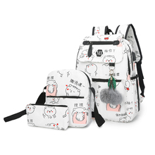 2018 USB Charging Canvas Backpack 3 Pcs/set Women School Backpacks Schoolbag For Teenagers Man Student Book Bag Boys Satchel