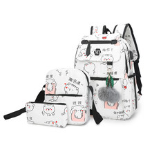2018 USB Charging Canvas Backpack 3 Pcs/set Women School Backpacks Schoolbag For Teenagers Man Student Book Bag Boys Satchel(China)