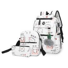 a88176fdf784 2018 зарядка через usb холст рюкзак 3 шт./компл. Для женщин школьные  рюкзаки школьный для подростков человек Студент Книга сумка.