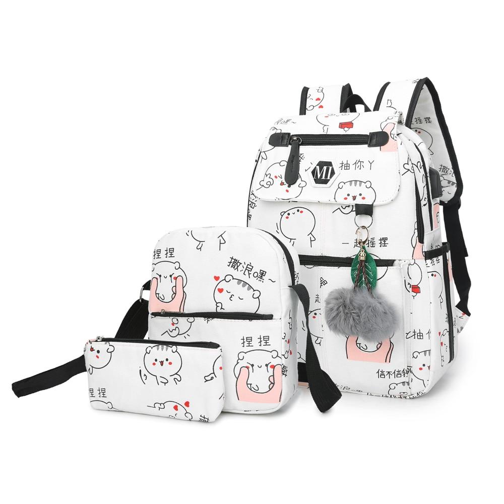 2018 USB Lade Leinwand Rucksack 3 Teile/satz Frauen Schule Rucksäcke Schultasche Für Jugendliche Mann Student Buch Tasche Jungen Satchel