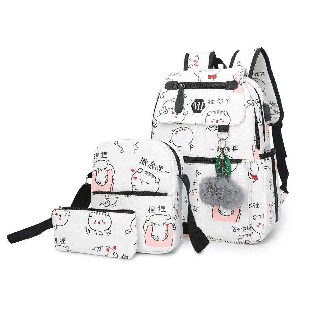 2018 USB mochila de lona de carga 3 unids/set mochilas escolares de mujer para adolescentes hombre estudiante libro bolsa niños mochila