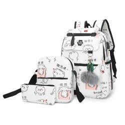 2019 зарядка через USB холст рюкзак 3 шт./компл. женские школьные рюкзаки, школьные сумки для подростков человек Студент Книга сумка обувь мальч...