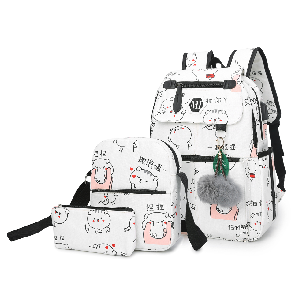 USB Charging 3 Pcs/set Canvas Backpack For Girl