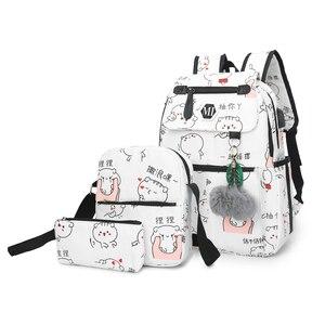 2020 USB Charging Canvas Backpack 3 Pcs/set Women School Backpacks Schoolbag For Teenagers Man Student Book Bag Boys Satchel(China)