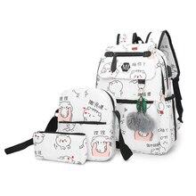 2020 USB şarj keten sırt çantası 3 adet/takım kadın okul sırt çantaları Schoolbag gençler için adam öğrenci kitap çantası erkek Satchel