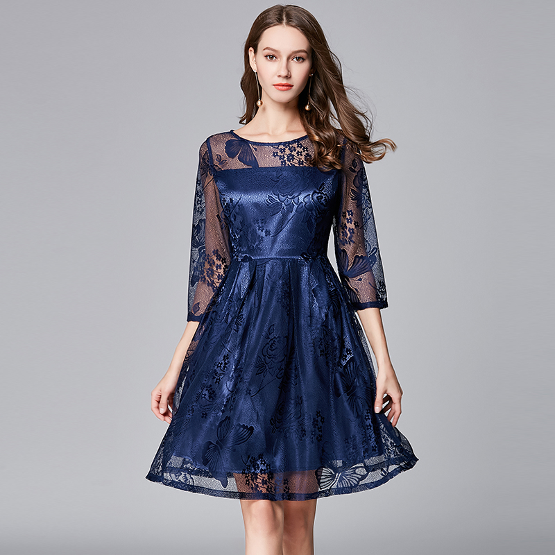 8f283e21bb Aliexpress.com   Buy Queechalle Vintage slim waist lace dress blue empire  pleated dress female vestidos L XL XXL XXXL 4XL 5XL Plus size women dresses  from ...