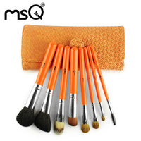 Makeup Brush 8 Branch Goat Hair Wooden Handle PU Package Orange Color Portable MSQ Professional Make
