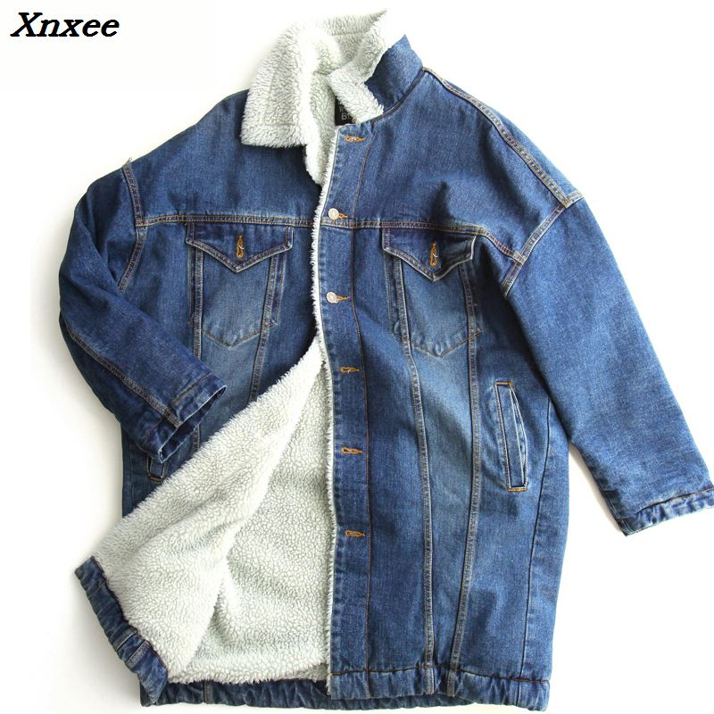 2018 Winter women denim parkas jacket Jeans vintage Fur Coat plus size S 2XL casual ladies warm Outwear Thick long coat Jacket in Parkas from Women 39 s Clothing