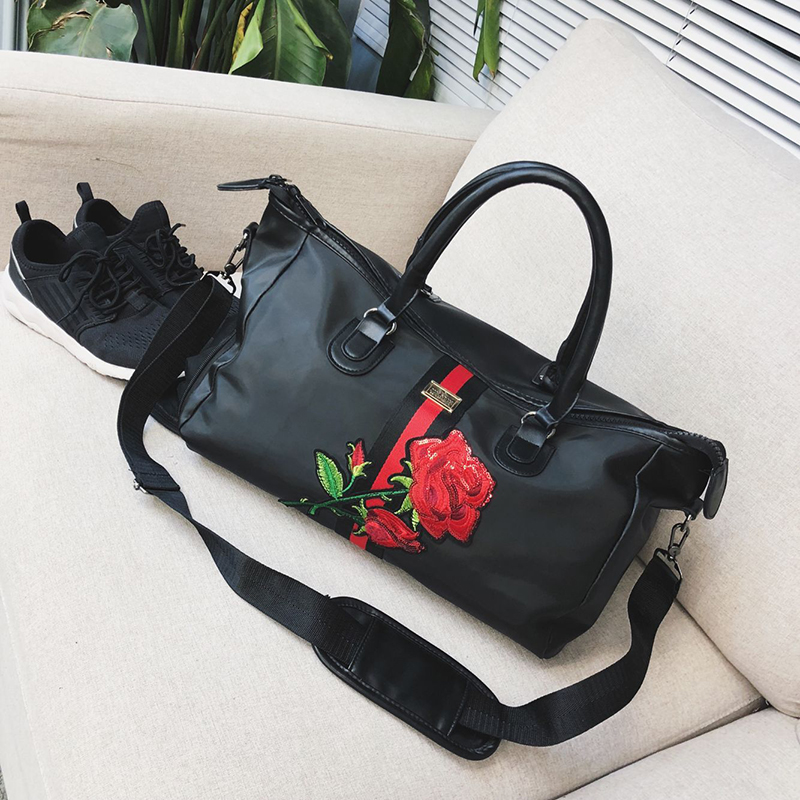 05b38ca0d18b47 Embroidery Rose Bag Portable Large Capacity Gym Bag Waterproof woman handbag  shoulder bag portable ladies handbag