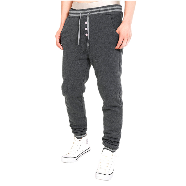 Men's Casual Harem Pants Sweatpants Drop Crotch Trousers Velour Pants Men Mid Waist Pant Casual Pantalones
