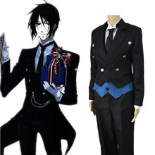 Black Butler Cosplay Anime Kuroshitsuji Sebastian Michaelis Cosplay Costume Uniforms Coat + Vest + Shirt + Pants + Tie + Gloves