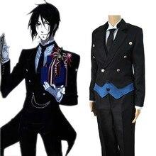 Siyah Butler Cosplay Anime Kuroshitsuji Sebastian Michaelis Cosplay kostüm üniforma ceket + yelek + gömlek + pantolon + kravat + eldiven