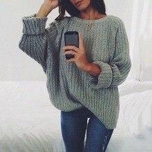 Laamei mujeres sólido cuello redondo suéter tejido 2019 Otoño Invierno moda mujer suéteres señoras suelta punto Dropshipping