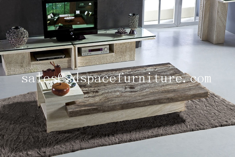 Unique coffee table travertine coffee table high end - How high is a coffee table ...