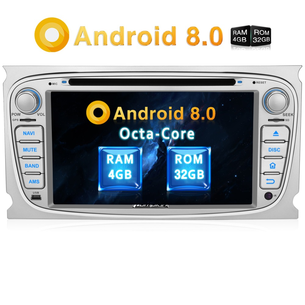 "Pumpkin 2 Din 7""Android 8.0 Qcta-Core 4G RAM 32G ROM Car Radio Audio DVD Player GPS Navigation Car Stereo For Ford Focus/ Mondeo"