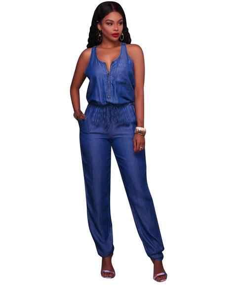 Для женщин комбинезоны длинные брюки комбинезон джинсовые без рукавов вечерние комбинезоны черный, белый цвет широкими штанинами Вечерние наряды DW610