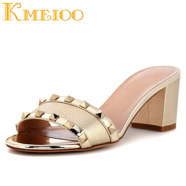 Kmeioo Fashion Ladies Shoes Rivets Studded Sandals Block Heel Mule Sipper Slip On Mules For Dress Casual 5.5 CM