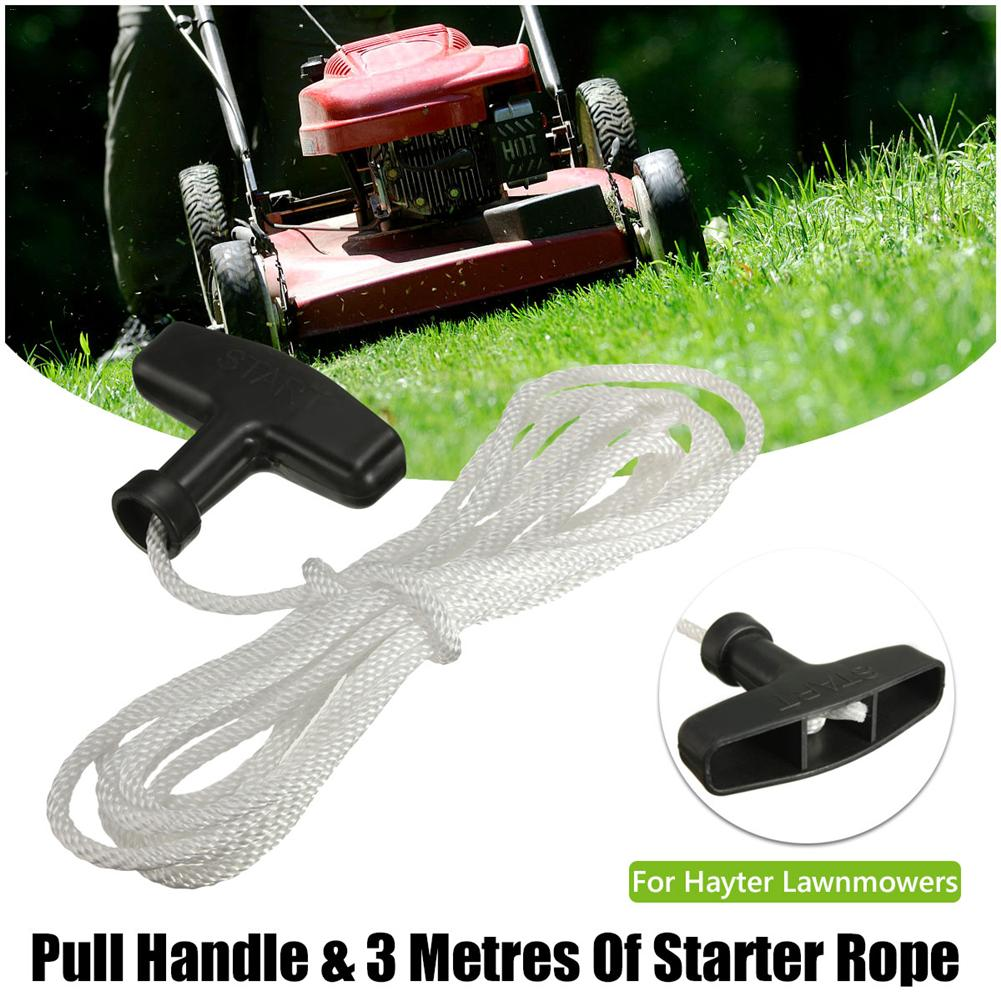 New 3 Meter 4mm Starter <font><b>Lawnmowers</b></font> Start Rope Cord Black Pull Handle & White Rope For Most <font><b>Lawnmowers</b></font> 1PC J3