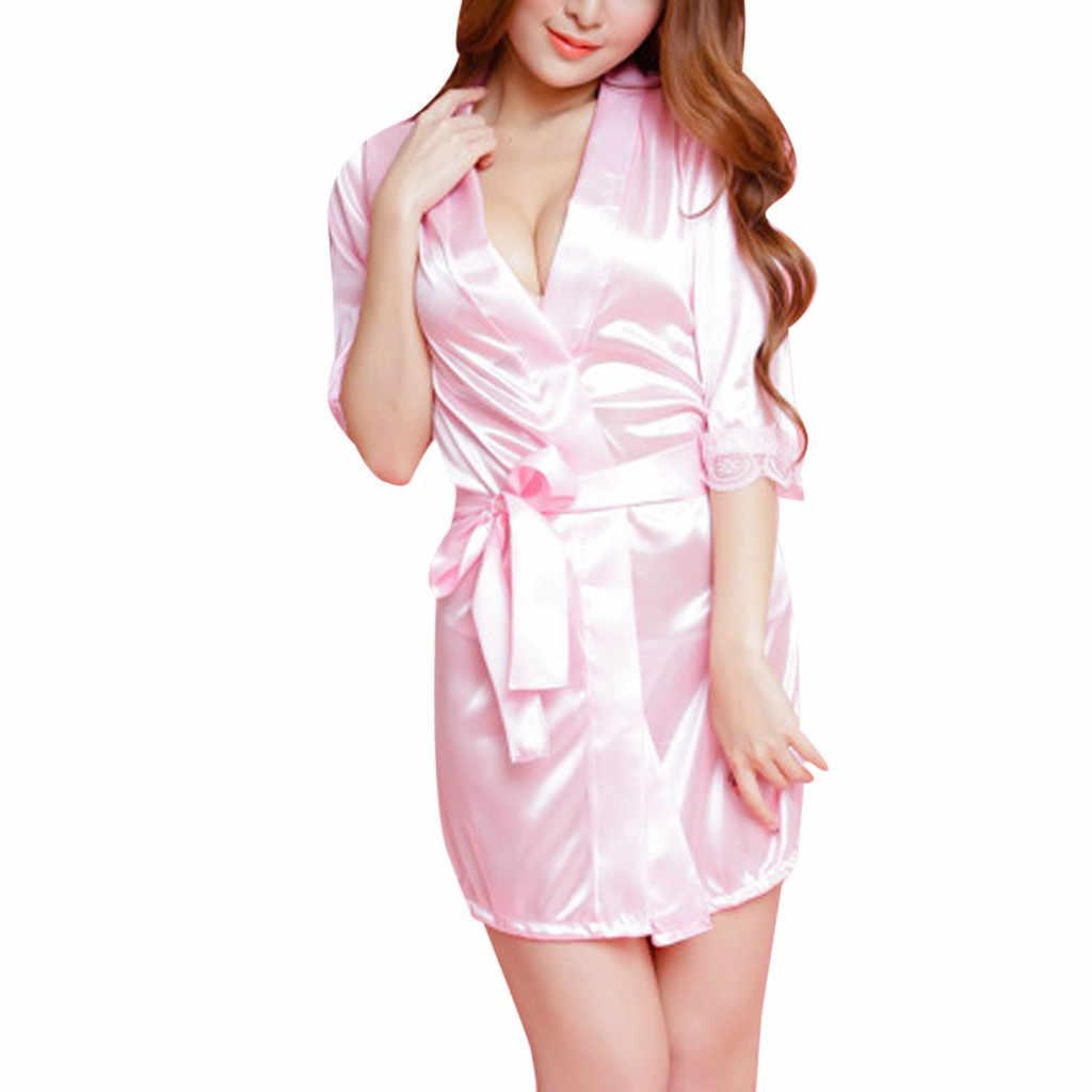 Yeni ipek Kimono Robe bornoz kadınlar için ipek nedime bornozlar seksi lacivert elbiseler saten elbise bayanlar sabahlık