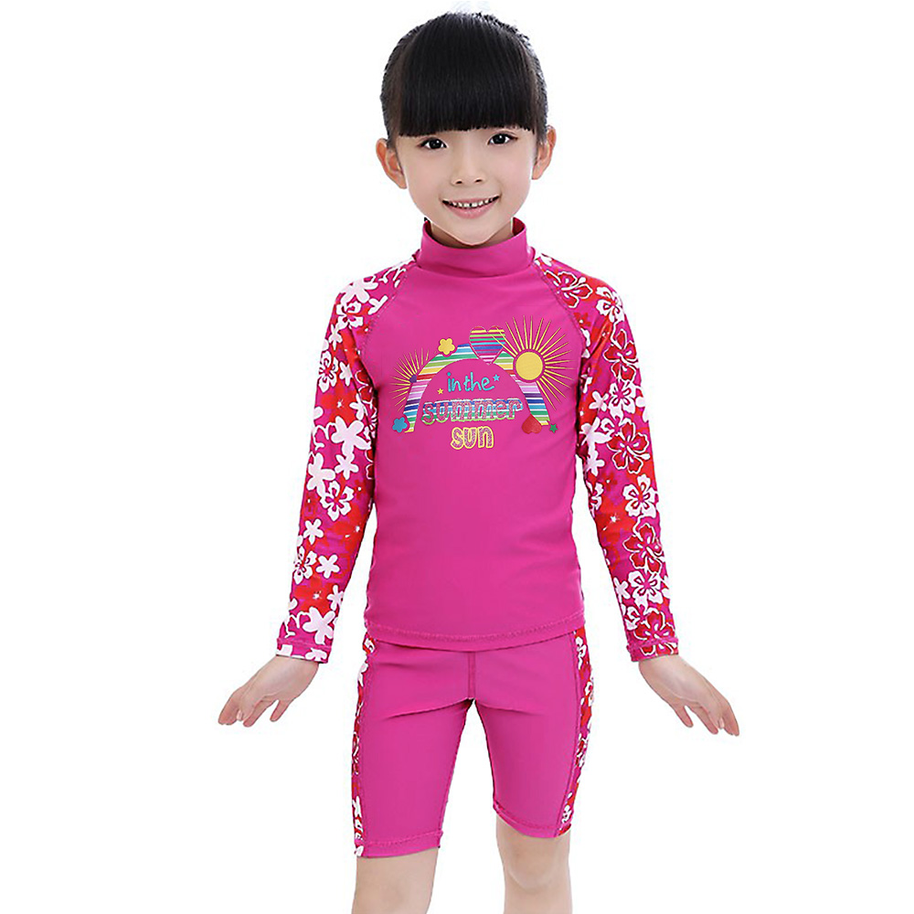 BAOHULU Girls Swimwear Kids Long Sleeves UV50+ Boys Bathing Swimming Suit (UPF50+) Children Two pieces Beach Swimsuit Girl Child