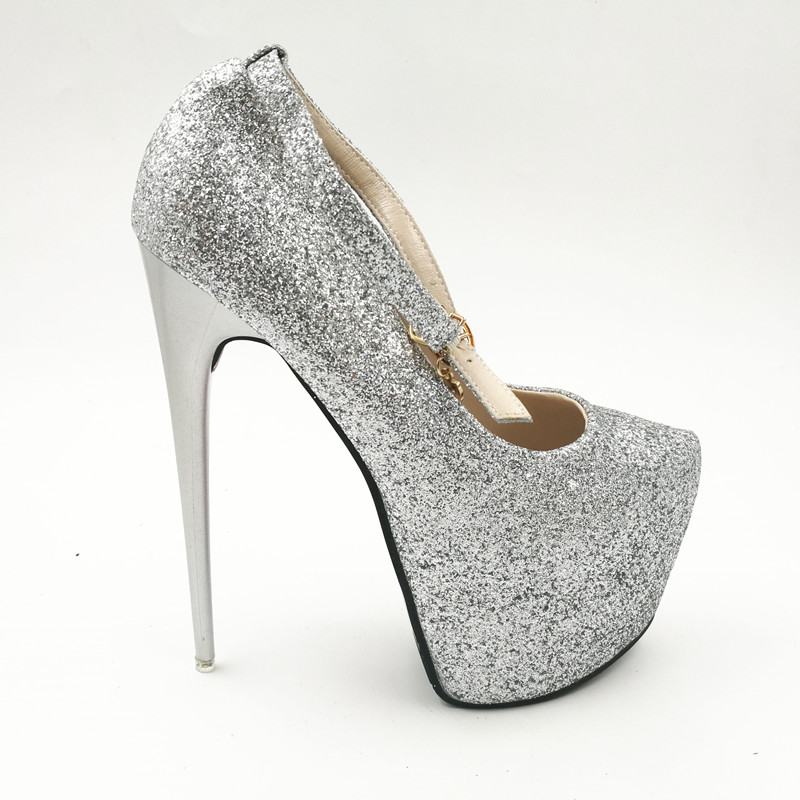 16 cm pompes à talons hauts princesse discothèque chaussures de mariage sexy paillettes talon mince plate-forme chaussures sy-1985 - 6