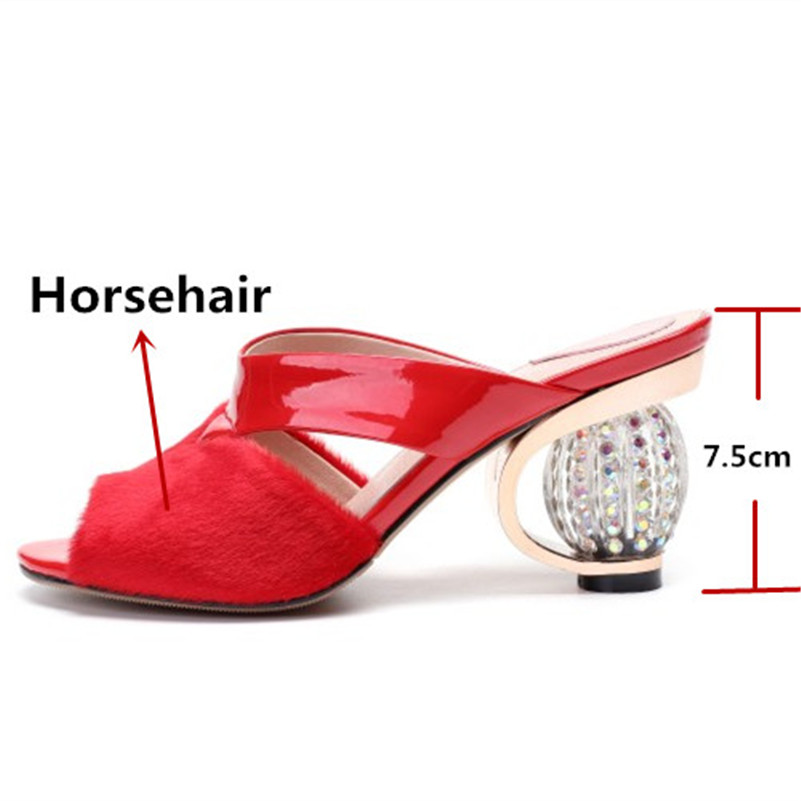 FEDONAS 2019 New Sandals Women Fashion Pumps Quality Horsehair Sexy Sandals Heels Strange Heel Slippers Summer Prom Shoes Woman-in High Heels from Shoes    2