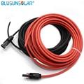 1 paar 3 meter 1x4mm2 solar kabel mit stecker  rot weiblich  schwarz männlichen  solar panel kabel stecker-in Steckverbinder aus Licht & Beleuchtung bei